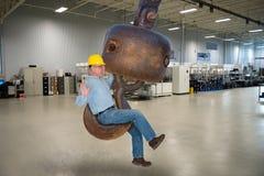 Job Safety engraçado, operário fotografia de stock