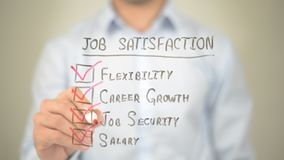 Job Satisfaction,  Man writing on transparent screen. High quality Stock Photos