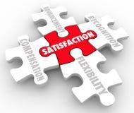 Job Satisfaction Puzzle Pieces Compensation-Erkenning Advancem Royalty-vrije Stock Foto's
