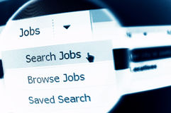 Job search. Internet job search menu under magnifier