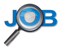 Job search. Magnifying glass and text job. Concept of searching job Stock Photo