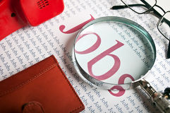 Job search. Various office items on the table in the company Stock Photos