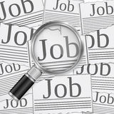 Job Search. Concept with magnifying glass Stock Photo