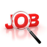 Job search 3d icon. Job search icon - job 3d letters under the magnifier Stock Image