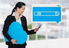 Job Search Bar box with woman holding phone and cloud. Digital composite of Job Search Bar box with woman holding phone and cloud royalty free stock photo