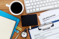Job search with blank sign on computer desk Stock Photography