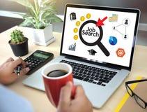 Job Search Businessman Human Online Job Resources Search sammanfogar u Arkivfoton