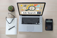 Job Search Businessman Human Online Job Resources Search se une a u Fotografía de archivo