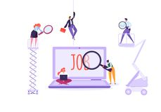 Job search candidate concept. searching for job stock illustration