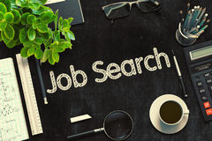 Job Search Concept on Black Chalkboard. 3D Rendering. Royalty Free Stock Image