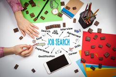 Job Search Concept. Chart with keywords and icons.  Royalty Free Stock Photo
