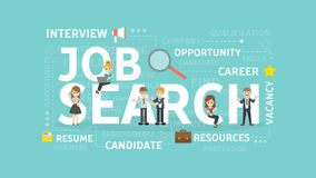 Job search concept. Job search concept illustration. Idea of resources, career and money Stock Photography