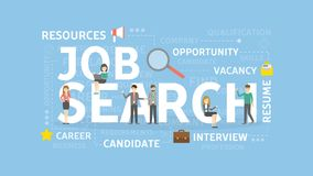 Job search concept. Job search concept illustration. Idea of resources, career and money Stock Photo