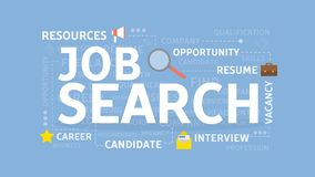 Job search concept. Job search concept illustration. Idea of resources, career and money Stock Photos