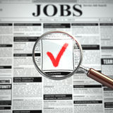 Job search concept. Loupe, newspaper with employment advertiseme. Nts.  3d Stock Photography