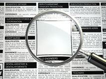 Job search concept. Loupe, newspaper with employment advertiseme. Nts. Empty fild for text. 3d Stock Photography