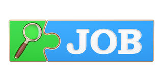 Job Search concept, from puzzle with magnifier. 3D rendering Royalty Free Stock Photo