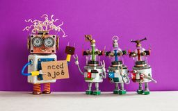 Job search concept. Robots looking for a job. Smiley unemployed robotic character with friends, cardboard sign and. Handwritten text Need a job. Purple royalty free stock image