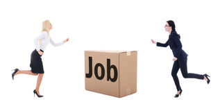 Job search concept - running business women isolated on white Stock Photo