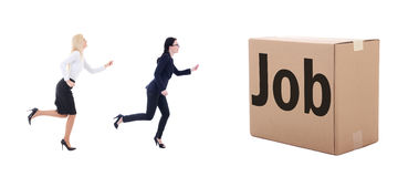 Job search concept - running business women isolated on white. Background Stock Images
