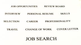 Job search. Conceptual banner background of job search white and black Stock Photos