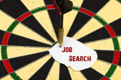 Job Search. Darts with dart which was pinned a sheet of paper fo Royalty Free Stock Images