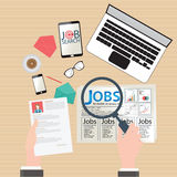 Job search design. Job search, Finding job, job seeking, conceptual Vector flat illustration Stock Photos