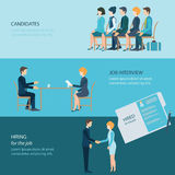 Job search design3. Recruitment flat banner set with candidates, job interview, hired the job, business people, human resources, conceptual vector illustration Royalty Free Stock Image