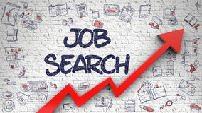 Job Search Drawn sur Brickwall blanc photographie stock libre de droits