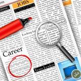 Job Search en periódico Fotografía de archivo