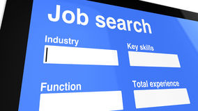 Job search entry screen Stock Images