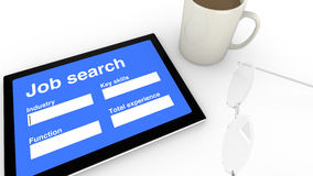 Job search entry screen Royalty Free Stock Photo