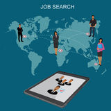 Job search, Hr, headhunting, human resources, flat vector illustration Royalty Free Stock Images