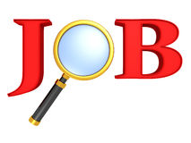 Job search icon - job 3d letters with magnifier Stock Photos