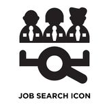 Job search icon vector isolated on white background, logo concept of Job search sign on transparent background, black filled royalty free illustration