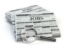 Job search. Loupe with jobs classified ad newspapers isolated  Stock Photo
