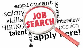 Job Search Magnifying Glass Get Hired Find Open Position 3d Illu. Stration Stock Photo