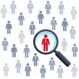 Job search - magnifying glass and people Royalty Free Stock Images