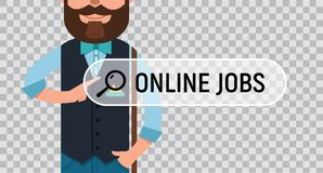 JOB SEARCH. Man is writing ONLINE JOB on virtual screen. Man is writing ONLINE JOB in search bar on virtual screen. Man looking for job. Online recruitment Royalty Free Stock Photos