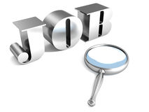 Job search metal text and magnifier Royalty Free Stock Photography