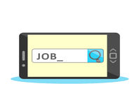 Job search online concept. Job search on search box with active cursor Stock Photos