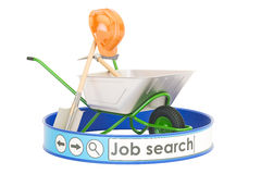 Job Search online concept, 3D rendering. Isolated on white background Royalty Free Stock Photo