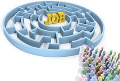 Job search people seek solution maze. Job search people seek to find employment problem solution Royalty Free Stock Images