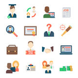 Job search set office human resourses recruitment employment work meeting manager vector icons of labor vector illustration