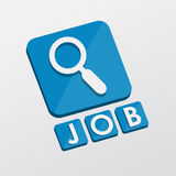 Job and search sign, flat design blocks. Job and search sign - white text with symbol in blue flat design blocks, job seeking concept Stock Image