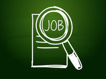 Job and search sign over green blackboard. Job and search sign - white chalk text with symbol over green blackboard, job seeking concept Royalty Free Stock Photo