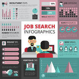 Job Search Strategy Flat Infographic Banner. Jobs search strategy with resume and portfolio tips and recruitment statistics infographics flat banners design Royalty Free Stock Photo