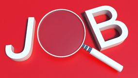 Job search. Text with loupe Royalty Free Stock Image