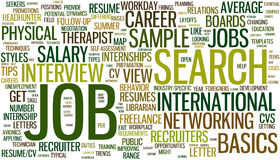 Job search wordcloud. Wordcloud with conceptual job search related words vector illustration