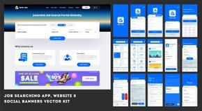Job Searching App Ui Kit for responsive banner or website template. Job Searching App Ui Kit for responsive banner or website template with different royalty free illustration